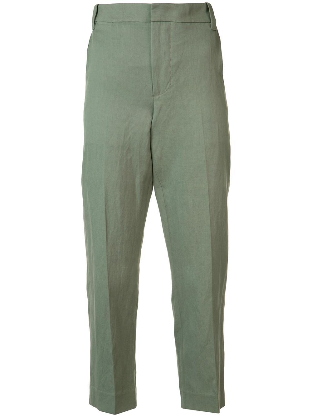 Coin Pocket Crop Linen Trouser Item # V404521394
