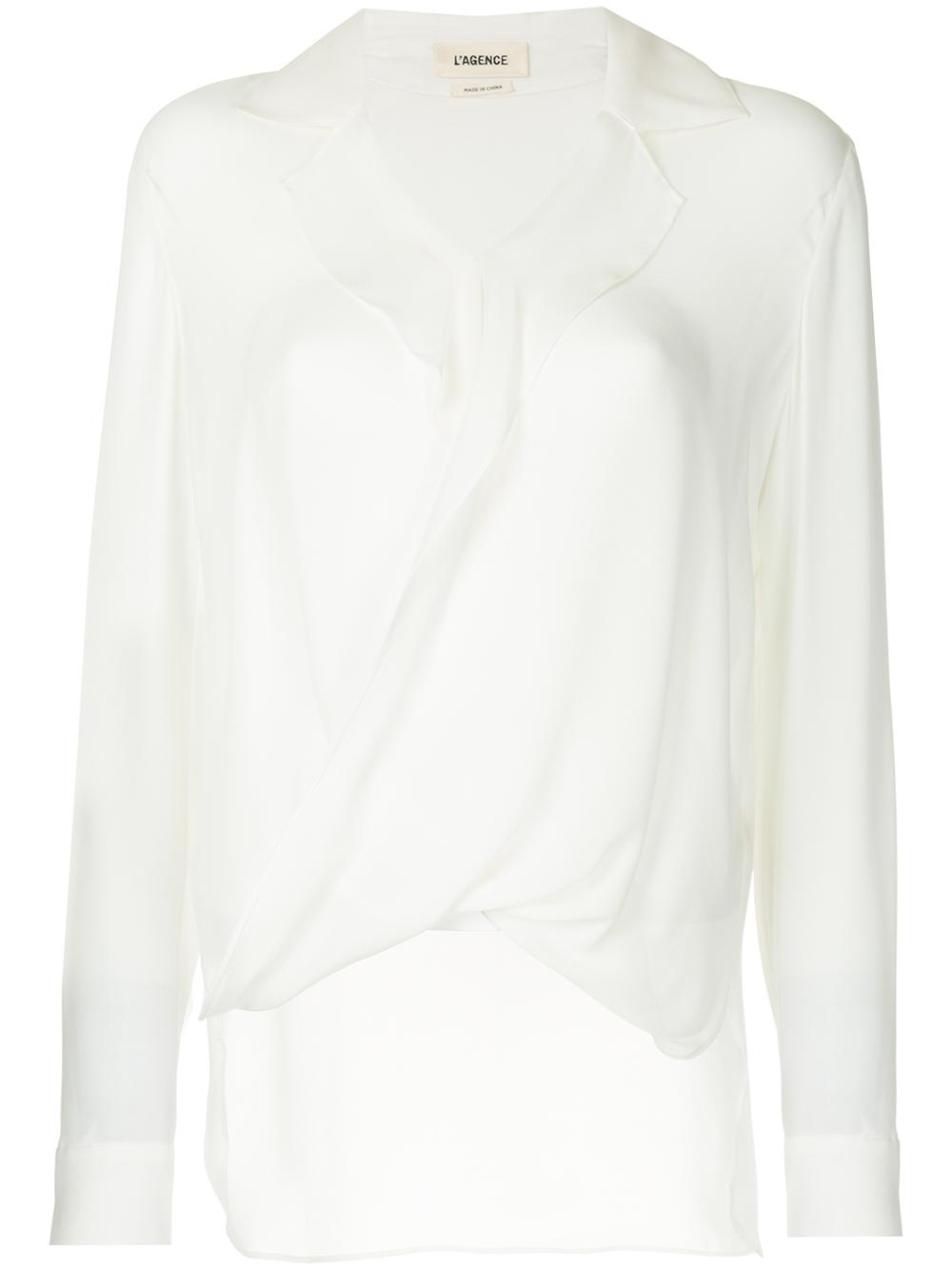 Rita Drape Front Blouse with Lapel