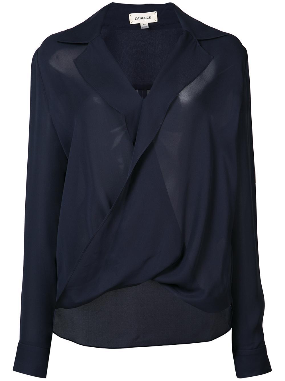 Rita Drape Front Blouse With Lapel Item # 4645 GG