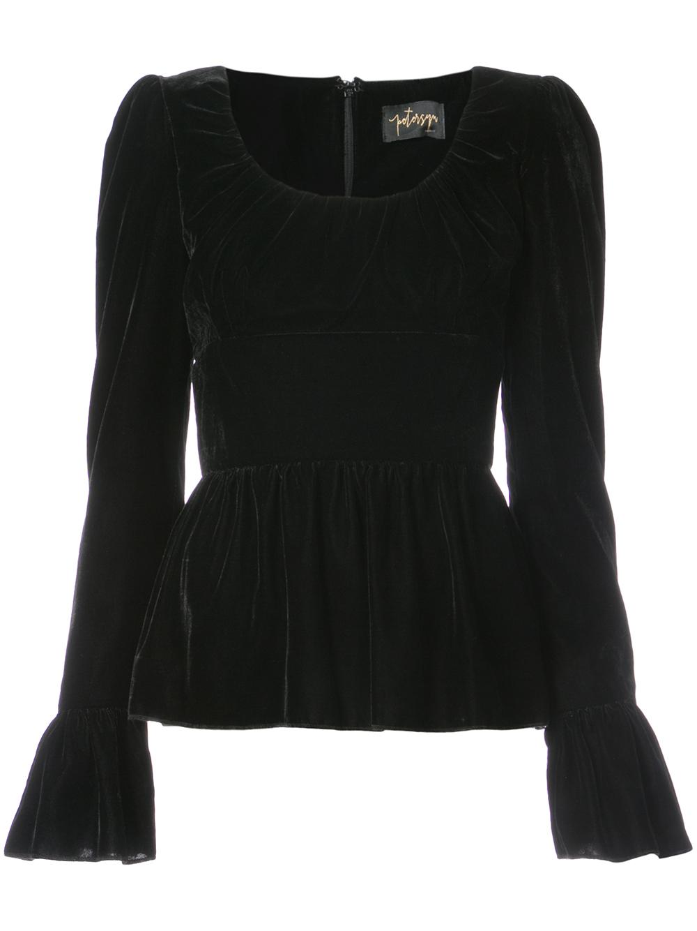 Velvet Scoop neck Long Sleeve Peplum Top