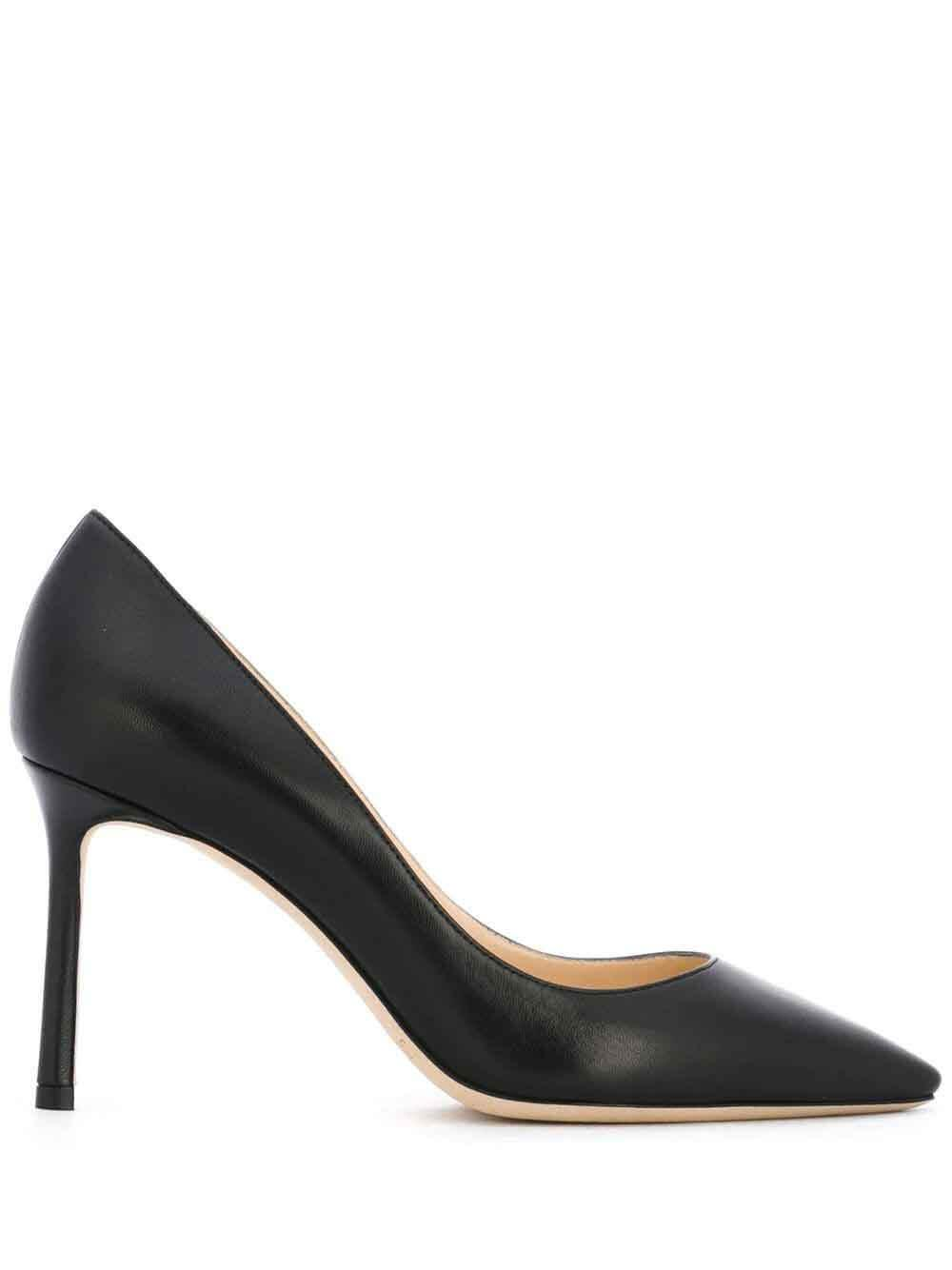 Black Leather Pointed Toe Pump