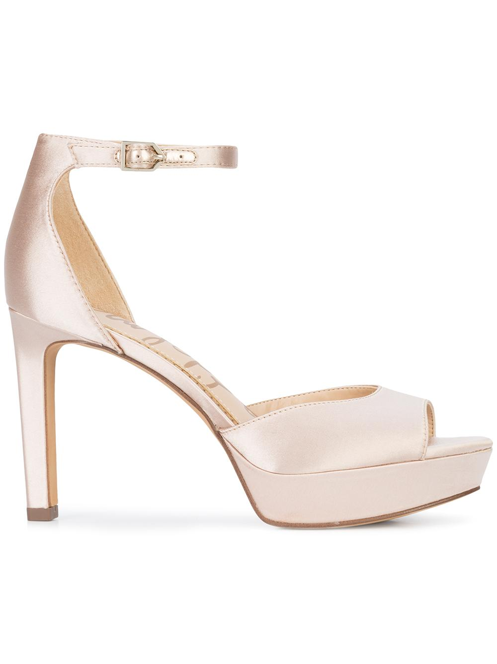 Satin Peep Toe High Heel With Ankle Strap