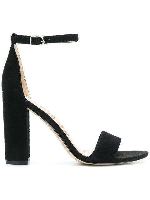 Leather Open Toe Block High Heel Ankle Strap Sandal
