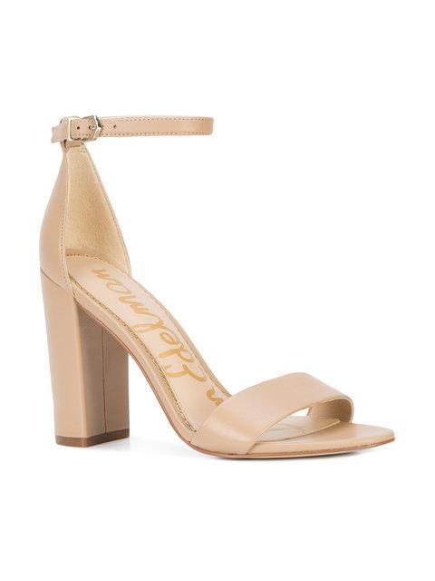 Leather Open Toe Block High Heel Ankle Strap Sandal