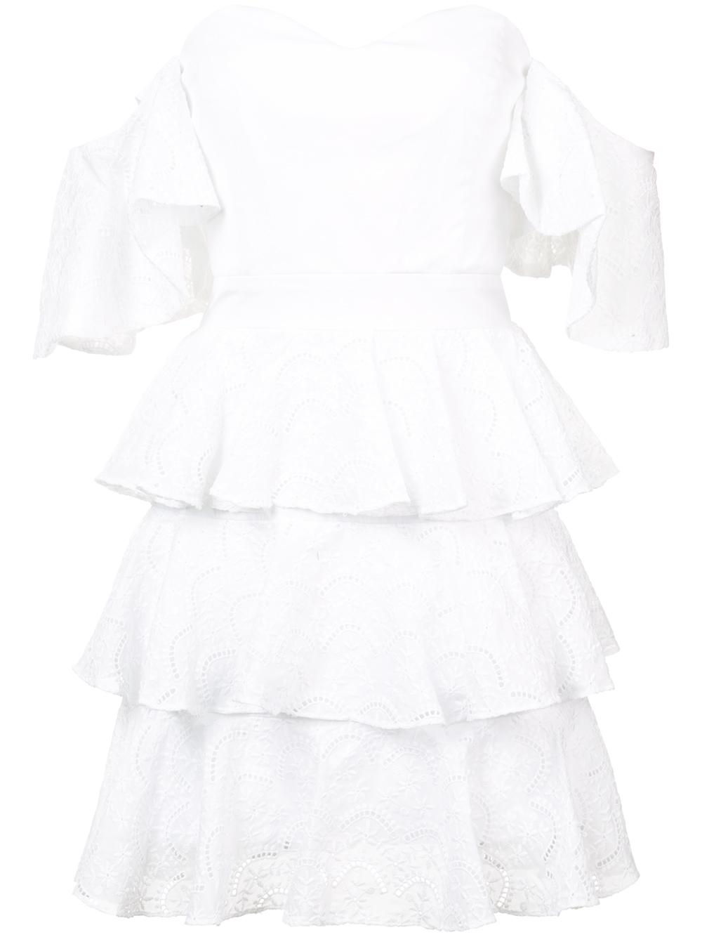 Irene Off Shoulder Lace Mini Ruffle Dress