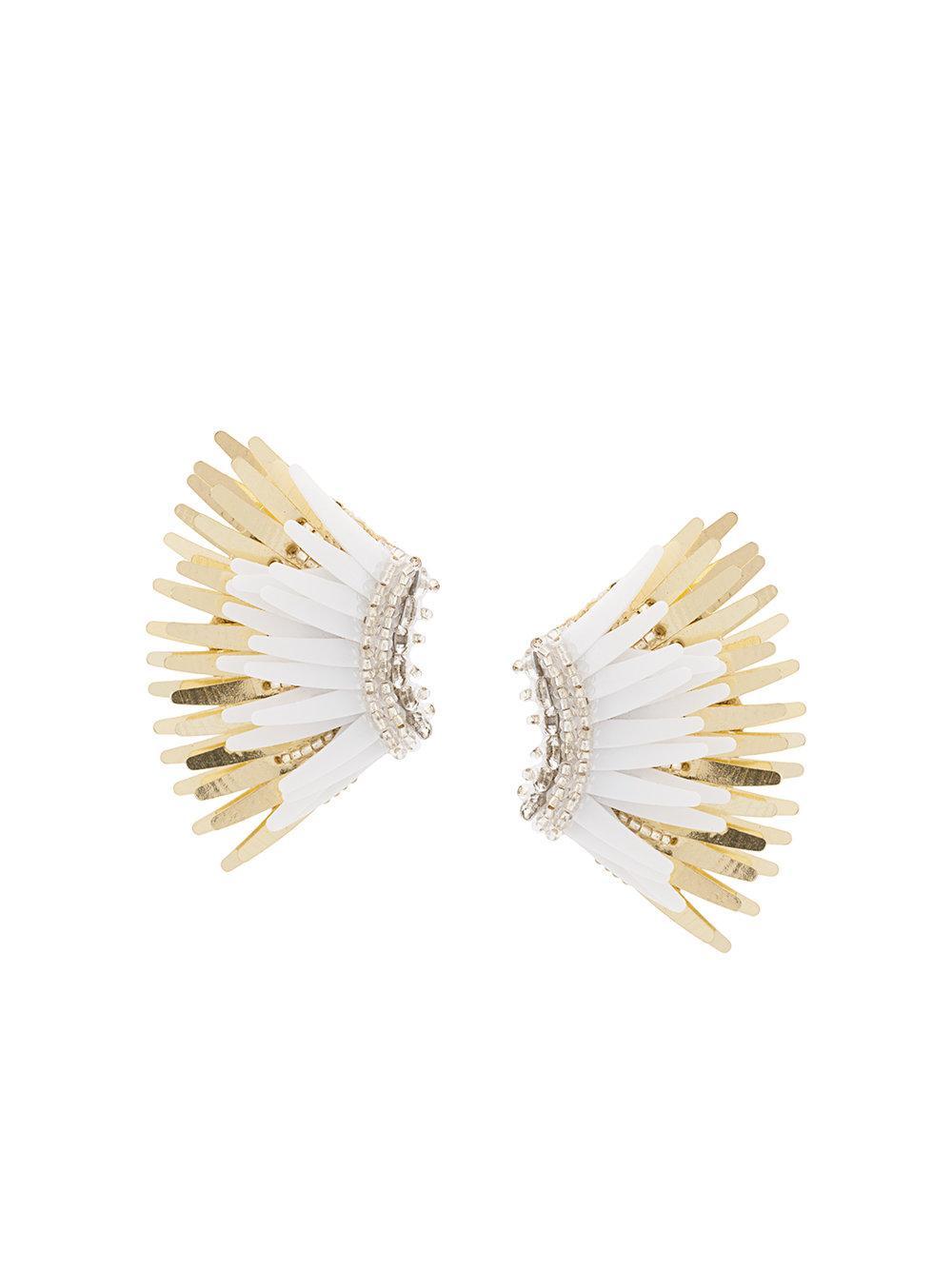 Mini Madeline White/Gold Earring Item # E32-105