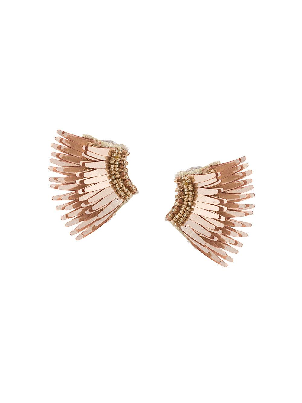 Mini Madeline Metallic Rose Gold Wings Earrings Item # E32-R33
