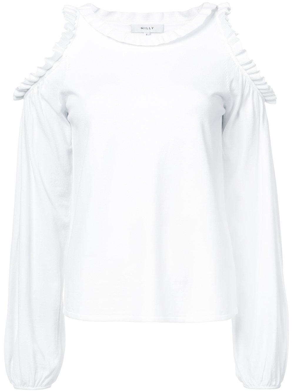 Cold Shoulder Ruffle Trim Long Sleeve Blouse Item # 206FK062335