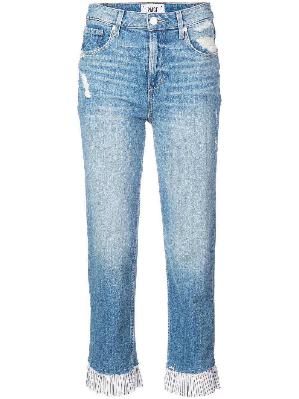 High Rise Contrast Ruffled Hem Straight Jean