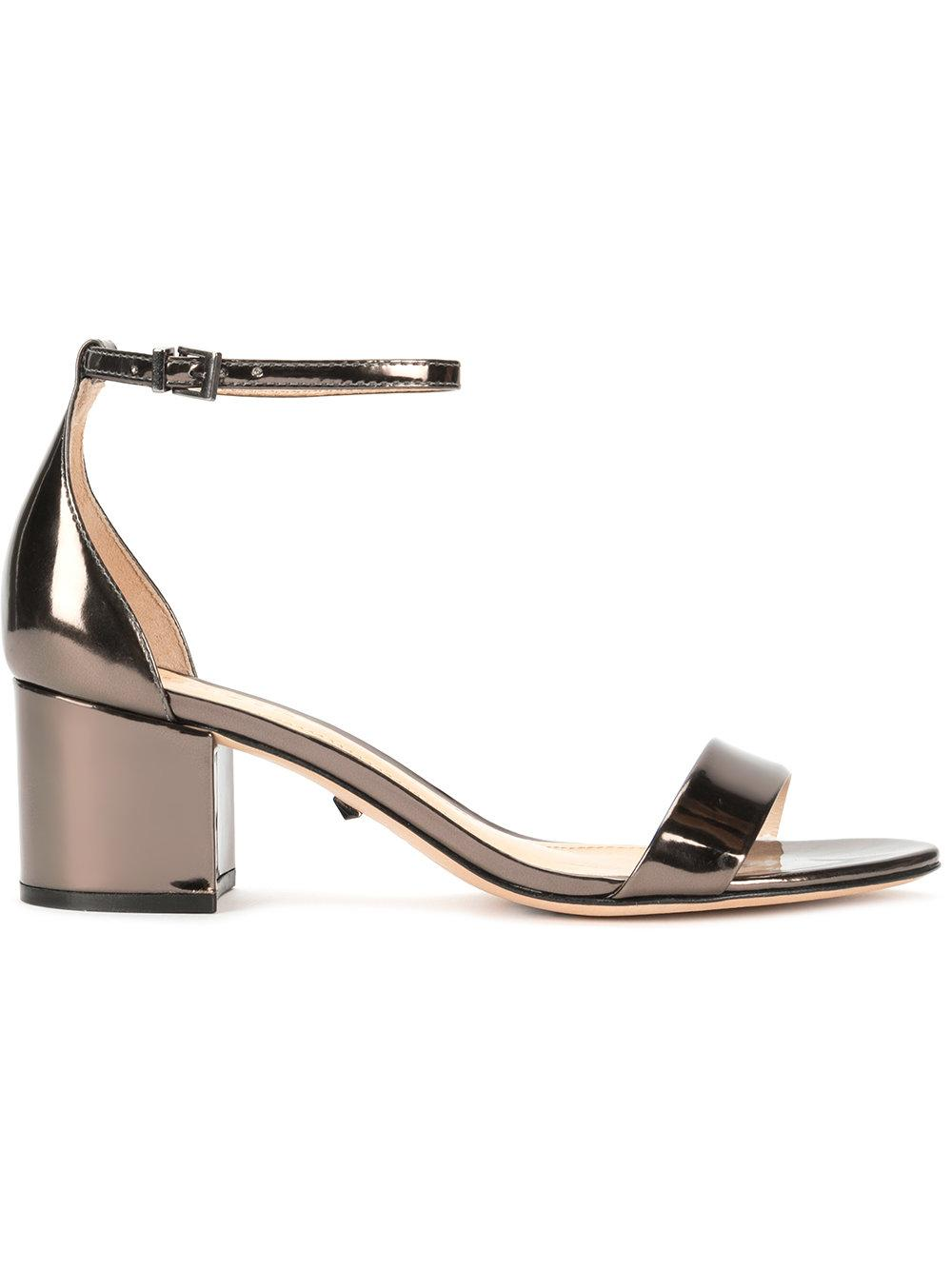 Open Toe Metallic Block Heel