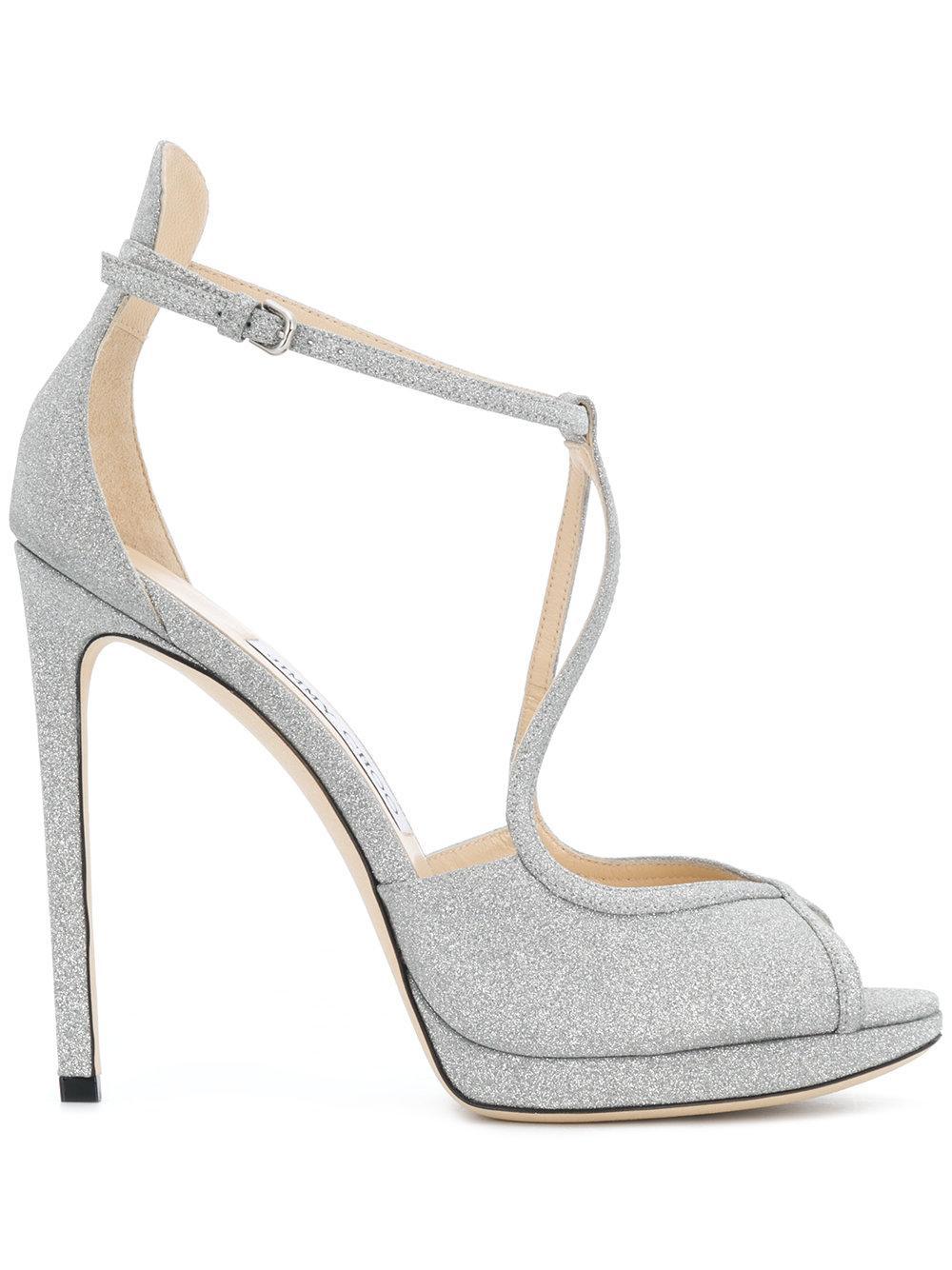 Fine Glitter Leather Ankle Strap Sandal