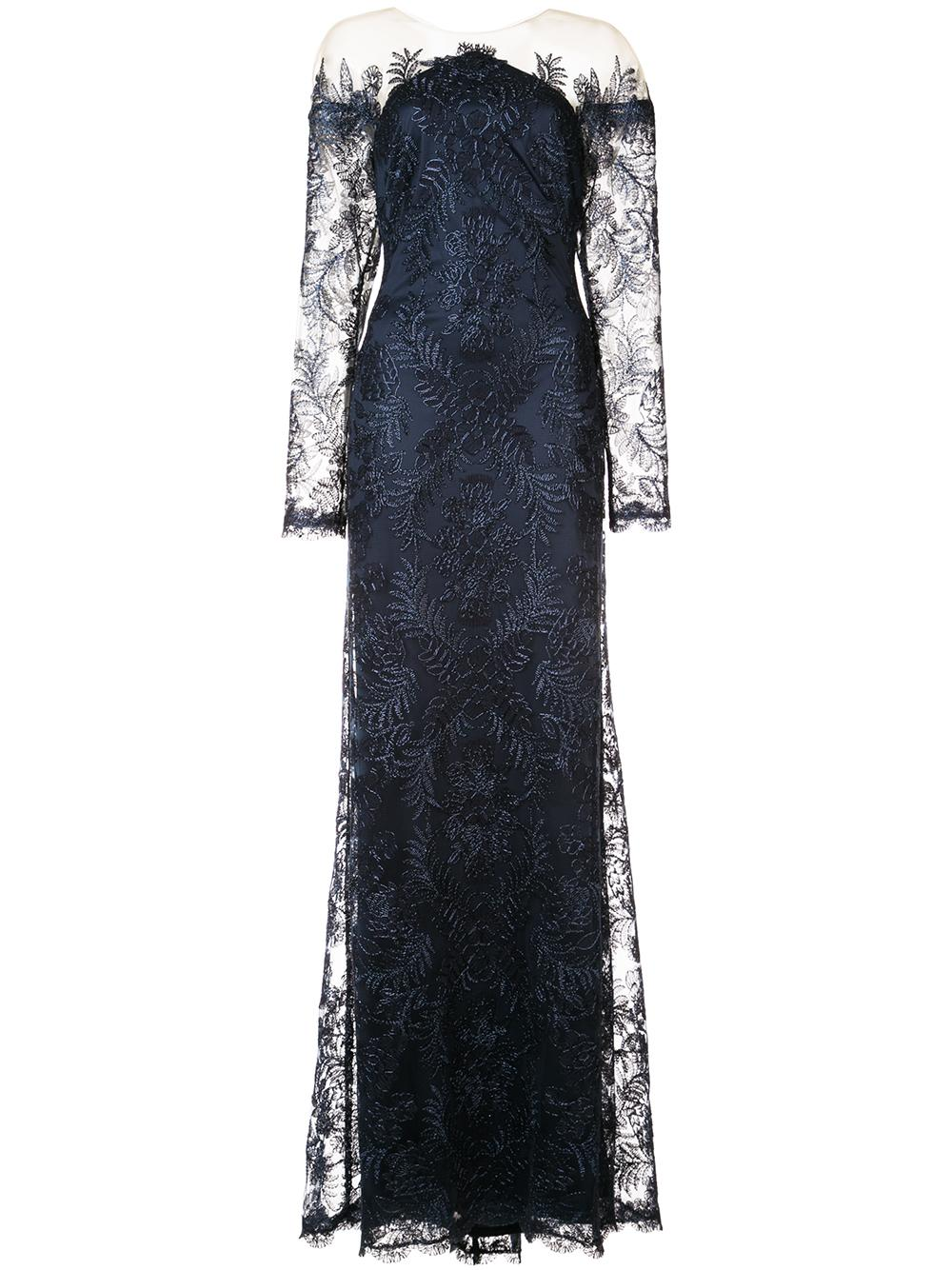 Illusion Long Sleeve Lace Gown