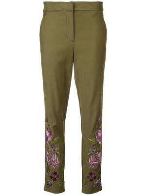 Floral Embroidered Ankle Pant