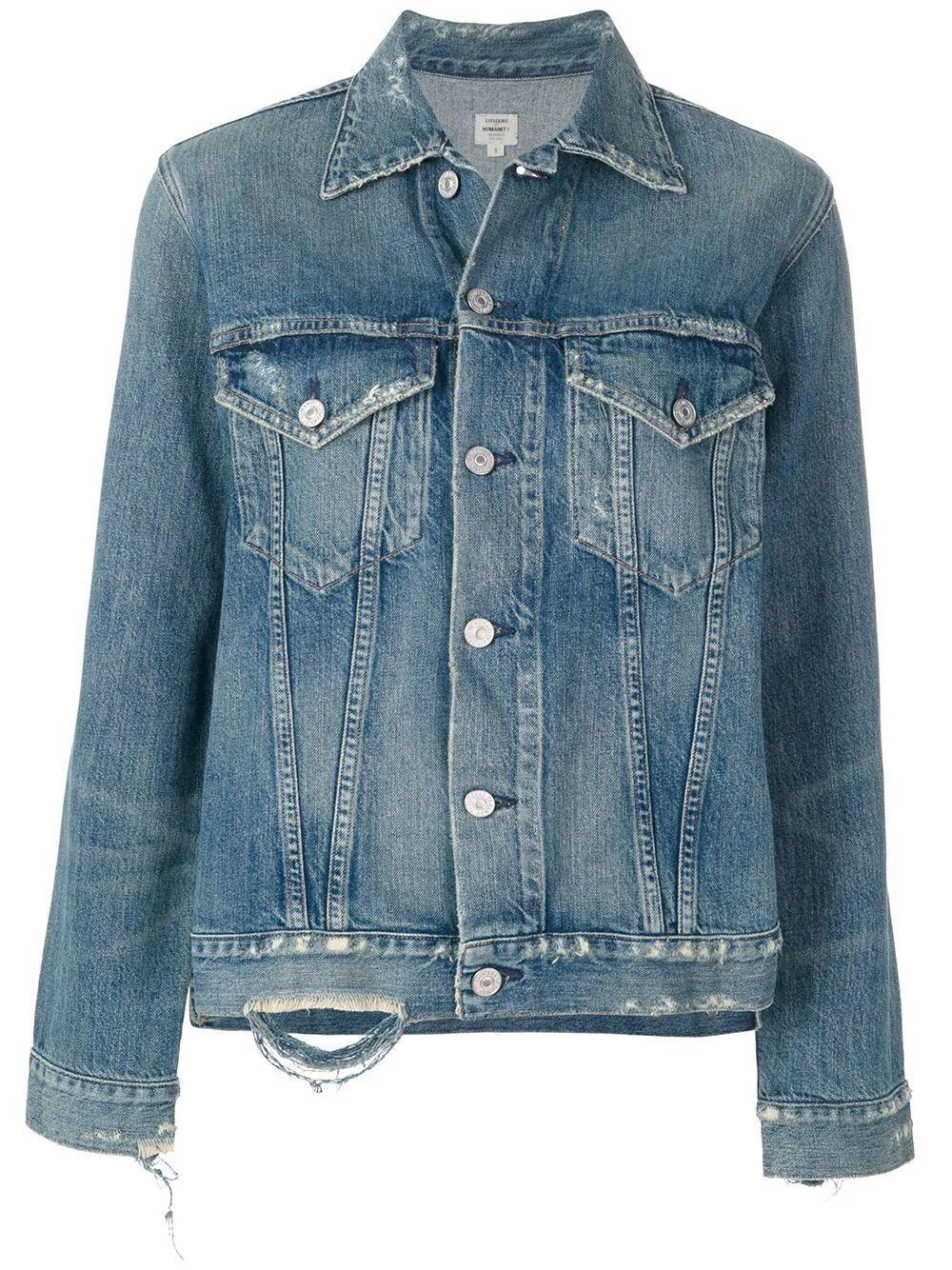 Crista Distressed High Low Denim Jacket Item # 600-763