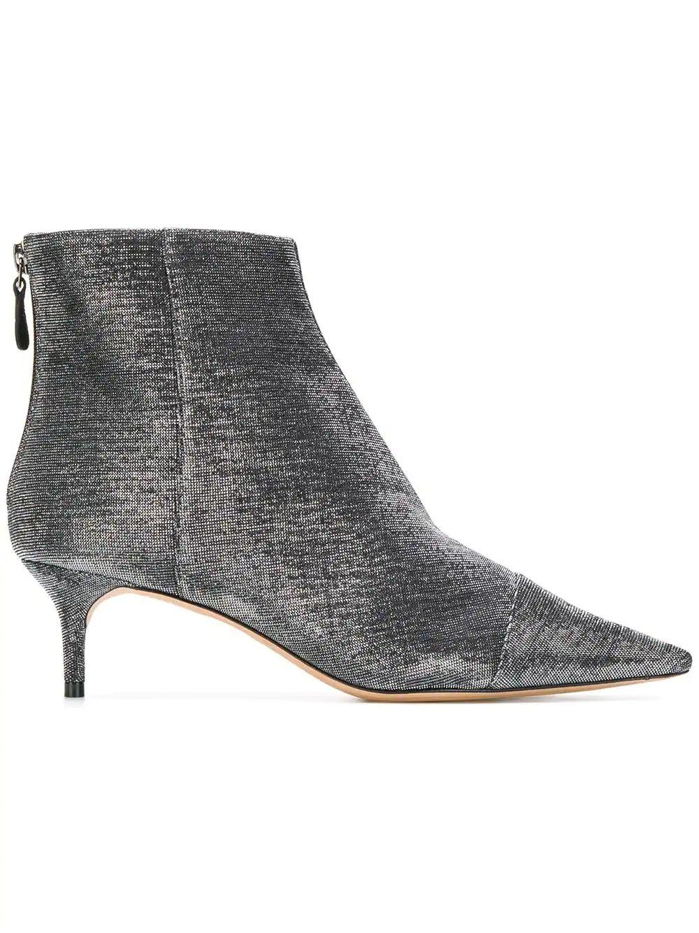 Pointed Toe Lurex Ankle Boots
