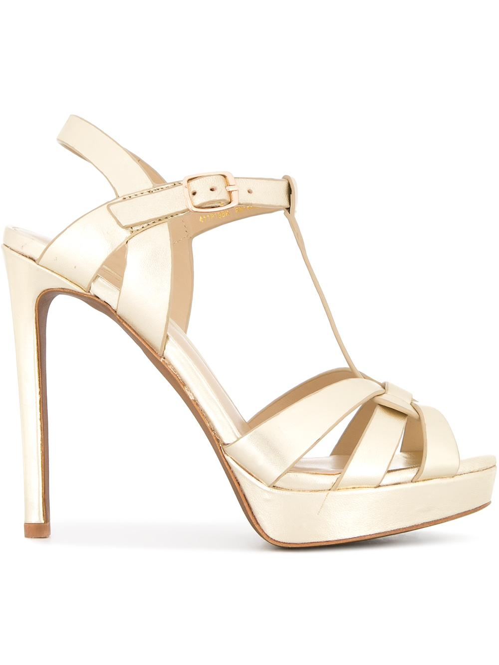 Gold Tone Platform Stiletto Sandal Item # 411P19BK