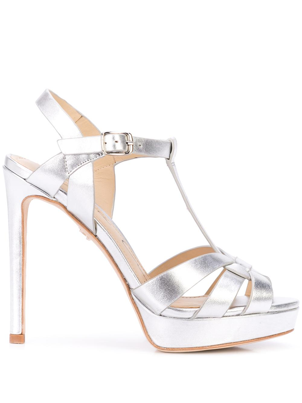 Gold Tone Platform Stiletto Sandal