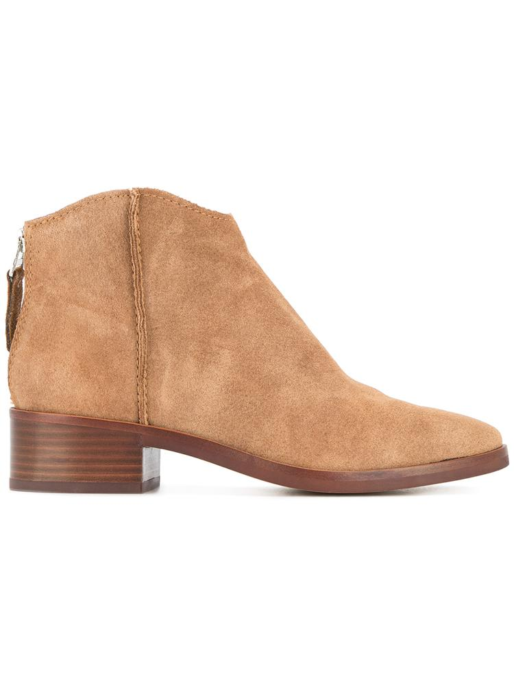 Suede Almond Toe Low Bootie Item # TUCKER