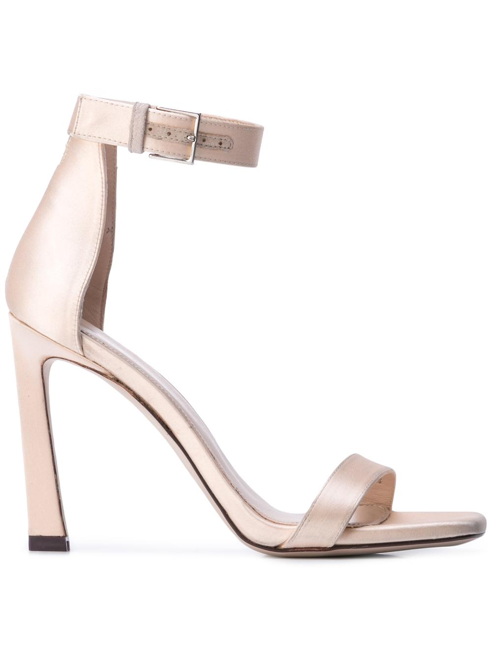Satin Square Toe High Heel Ankle Strap Sandal Item # 100SQUARENUDIST
