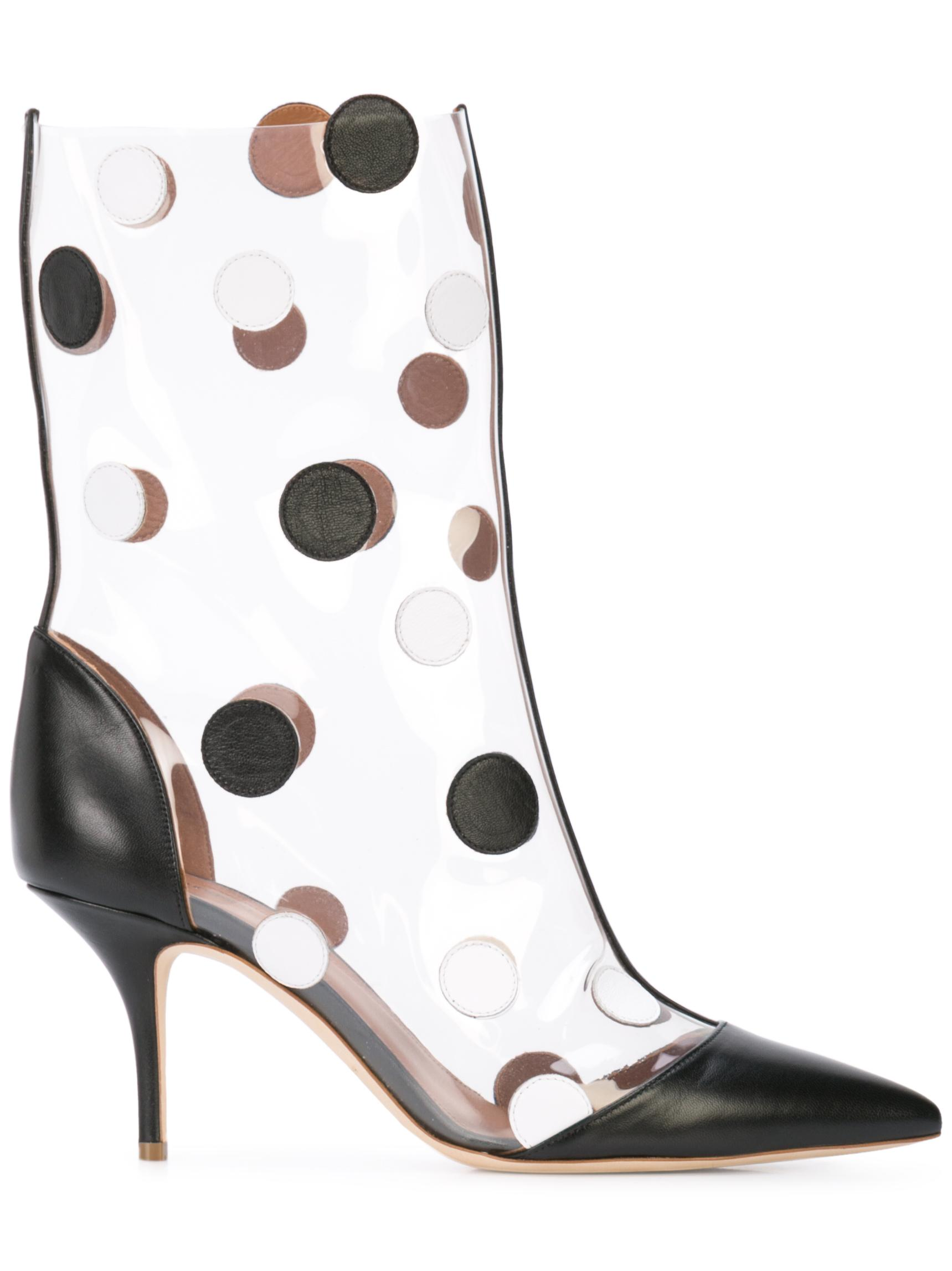 Point Toe 45mm Nappa/PVC Dotted Bootie