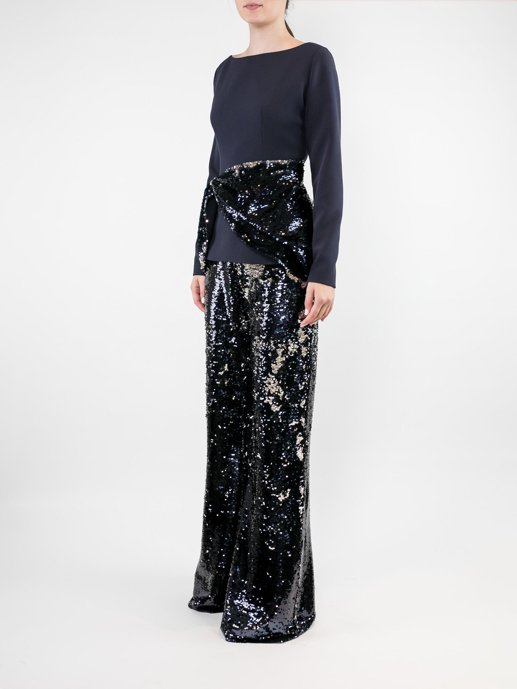 Long Sleeve Heavy Crepe Sequin Top With Pant Item # T101-2/P38-1