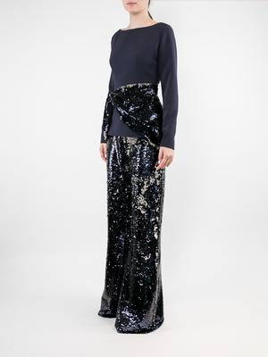 Long Sleeve Heavy Crepe Sequin Top With Pant