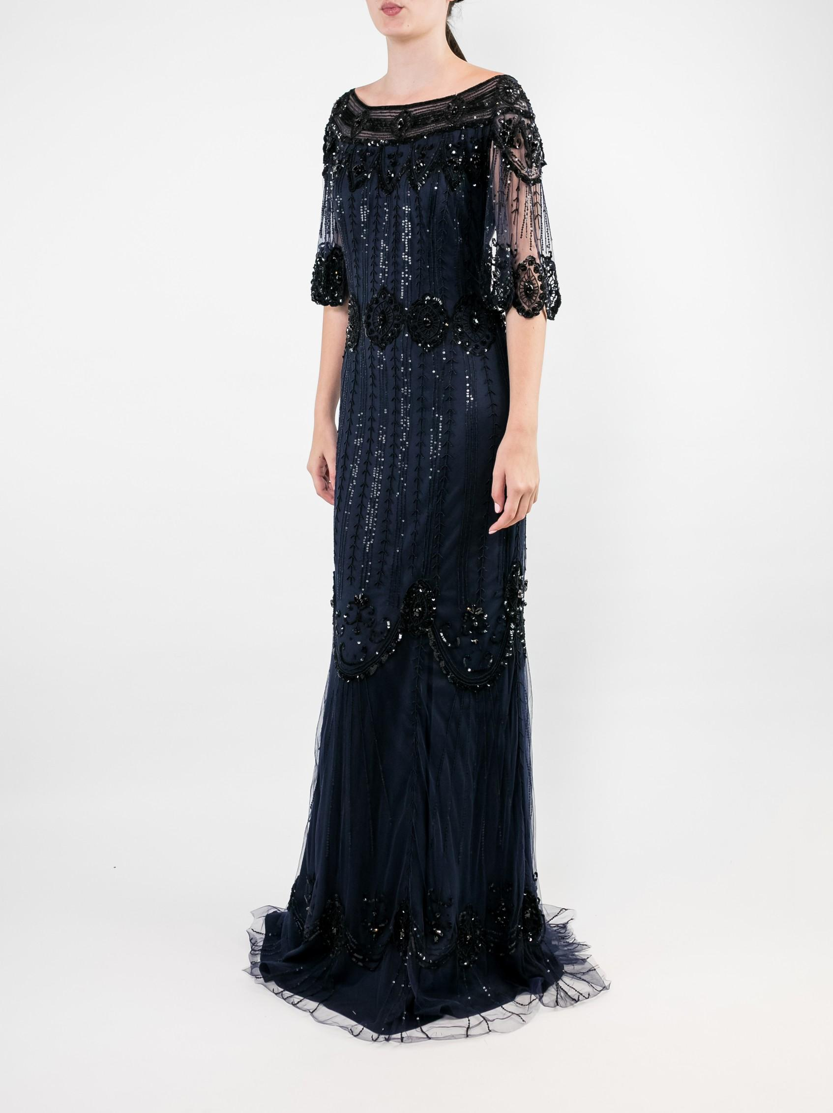 Elbow Sleeve Embellished Tulle Gown