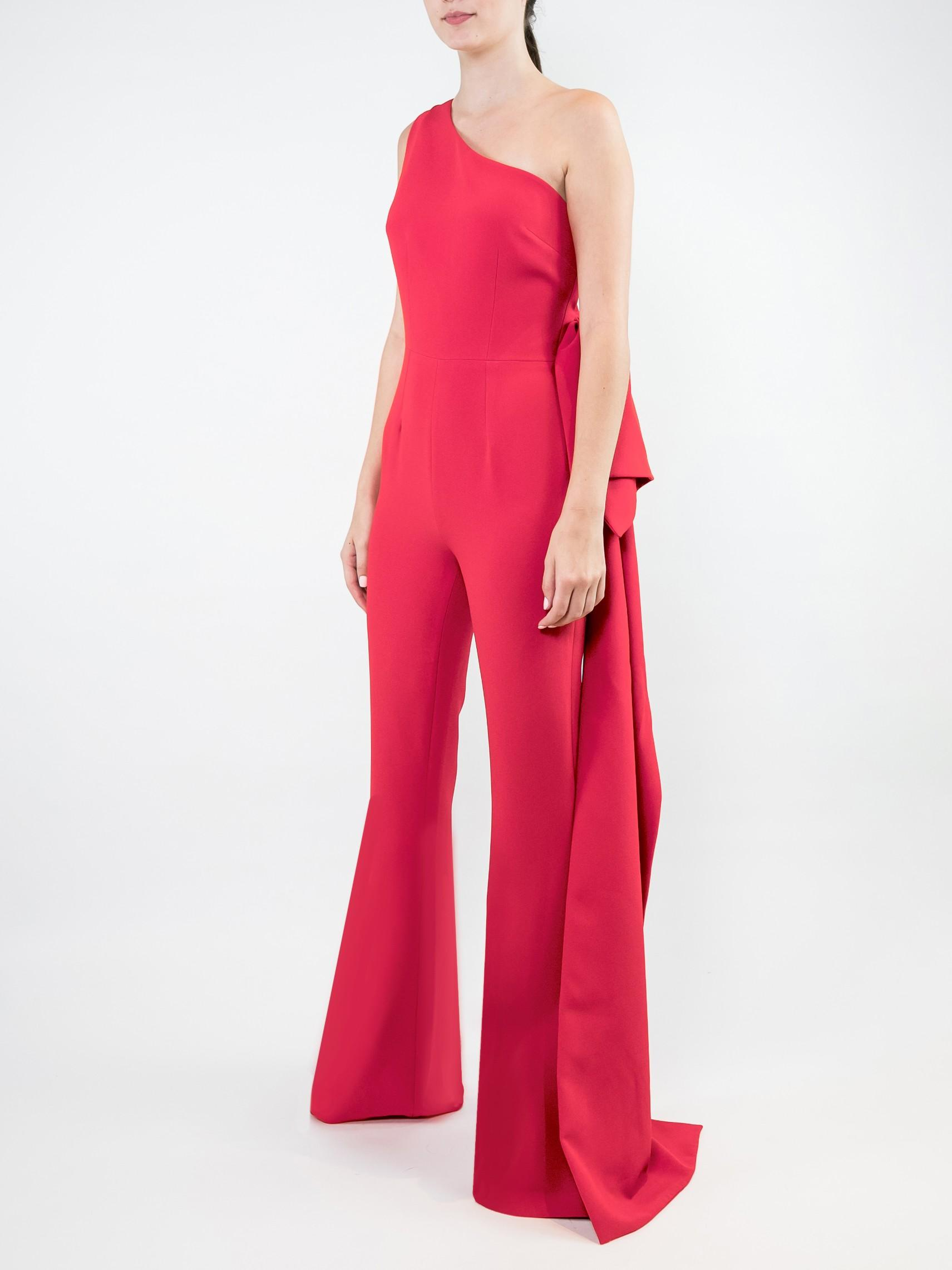 Bano One Shoulder Jumpsuit With Bow Back Item # JS27-1