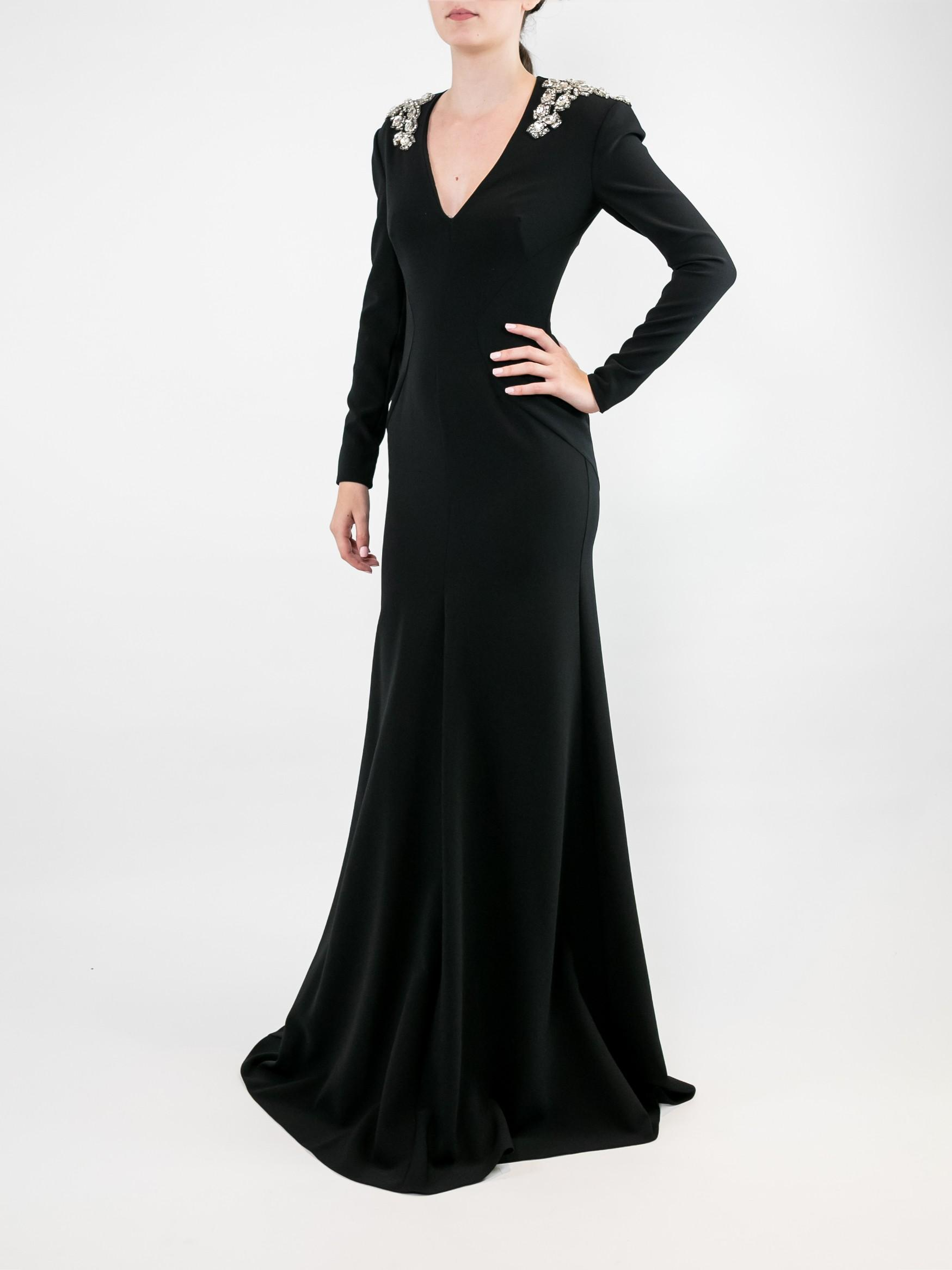 Long Sleeve Vneck Crepe Gown With Shoulder Detail Item # MMD156L