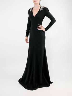 Long Sleeve Vneck Crepe Gown With Shoulder Detail