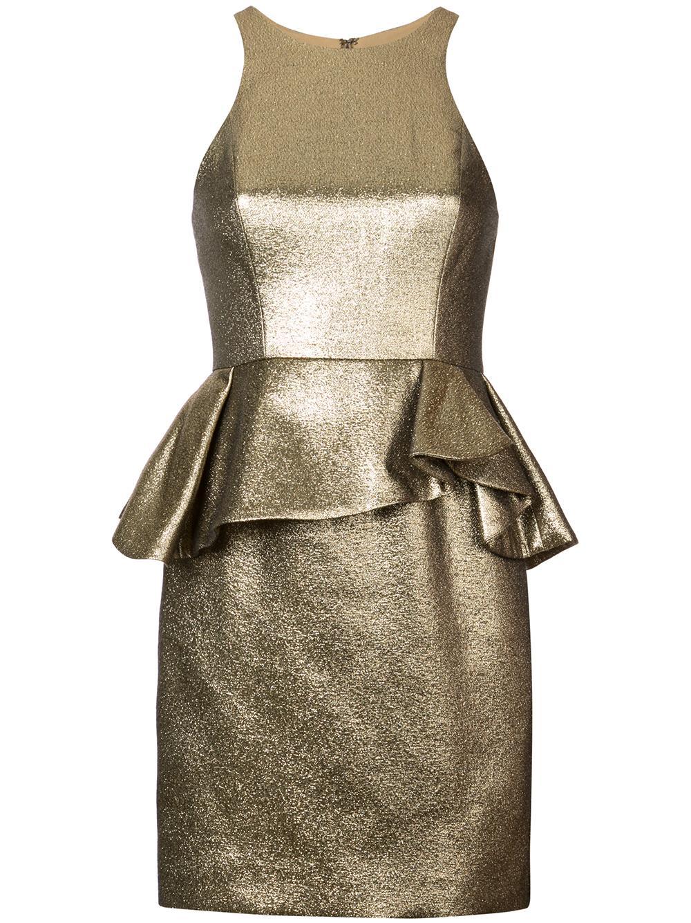Sleevless High Neck Jacquard Peplum Dress