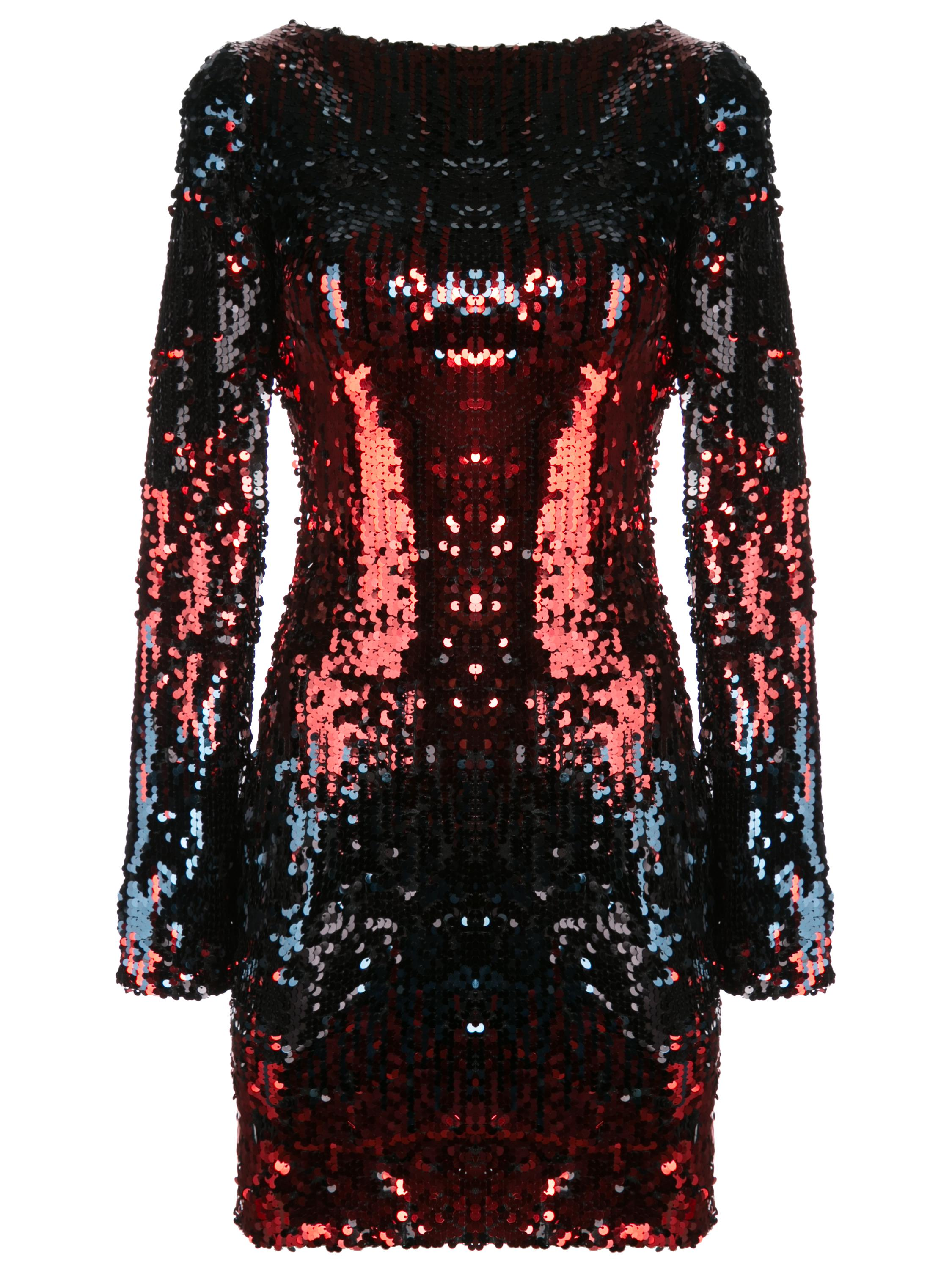 Long Sleeve Sequin Short Dress Item # LORENA5-DO10