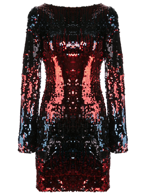 Long Sleeve Sequin Short Dress