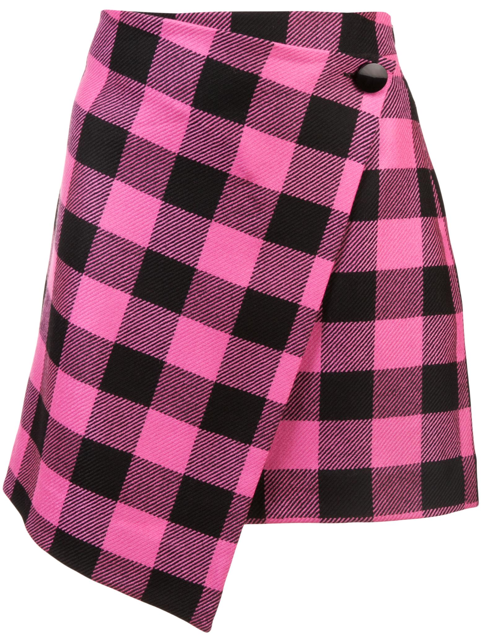 Buffalo Check Wrap Mini Skirt