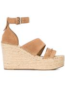 Wedge Espadrille Suede Sandal With Ankle Strap