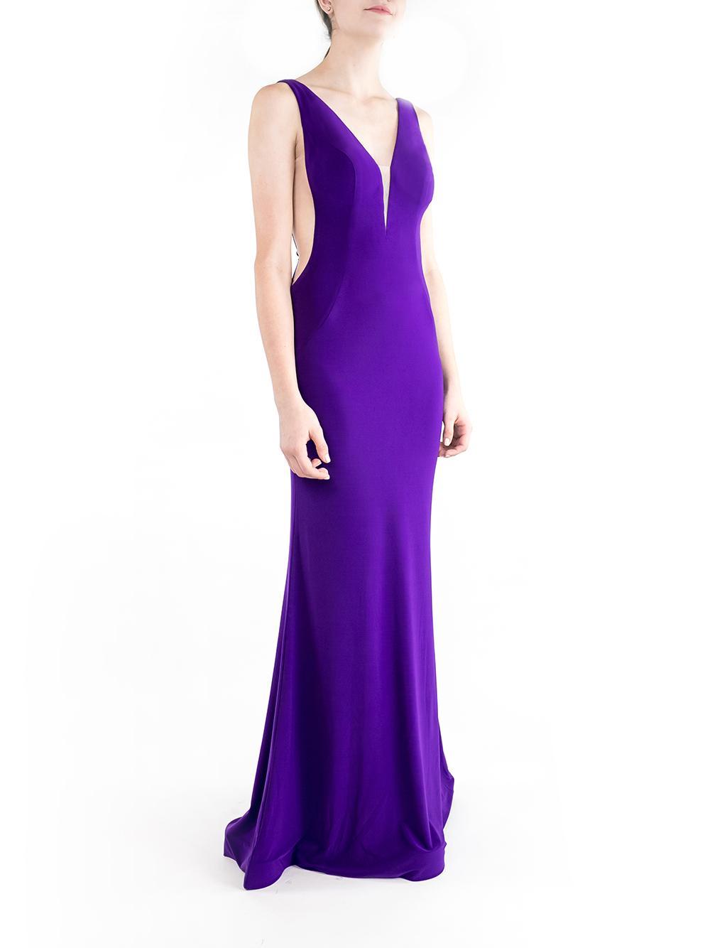 Deep V Neck Open Back Gown Item # JVN67096