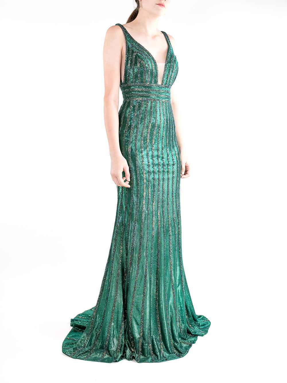 Vertical Sequin Stripe Gown Item # 65981