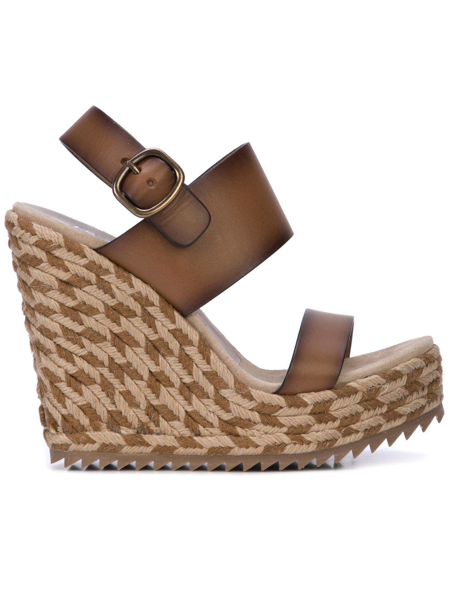 Woven Wedge Platform Sandal With Sling Back