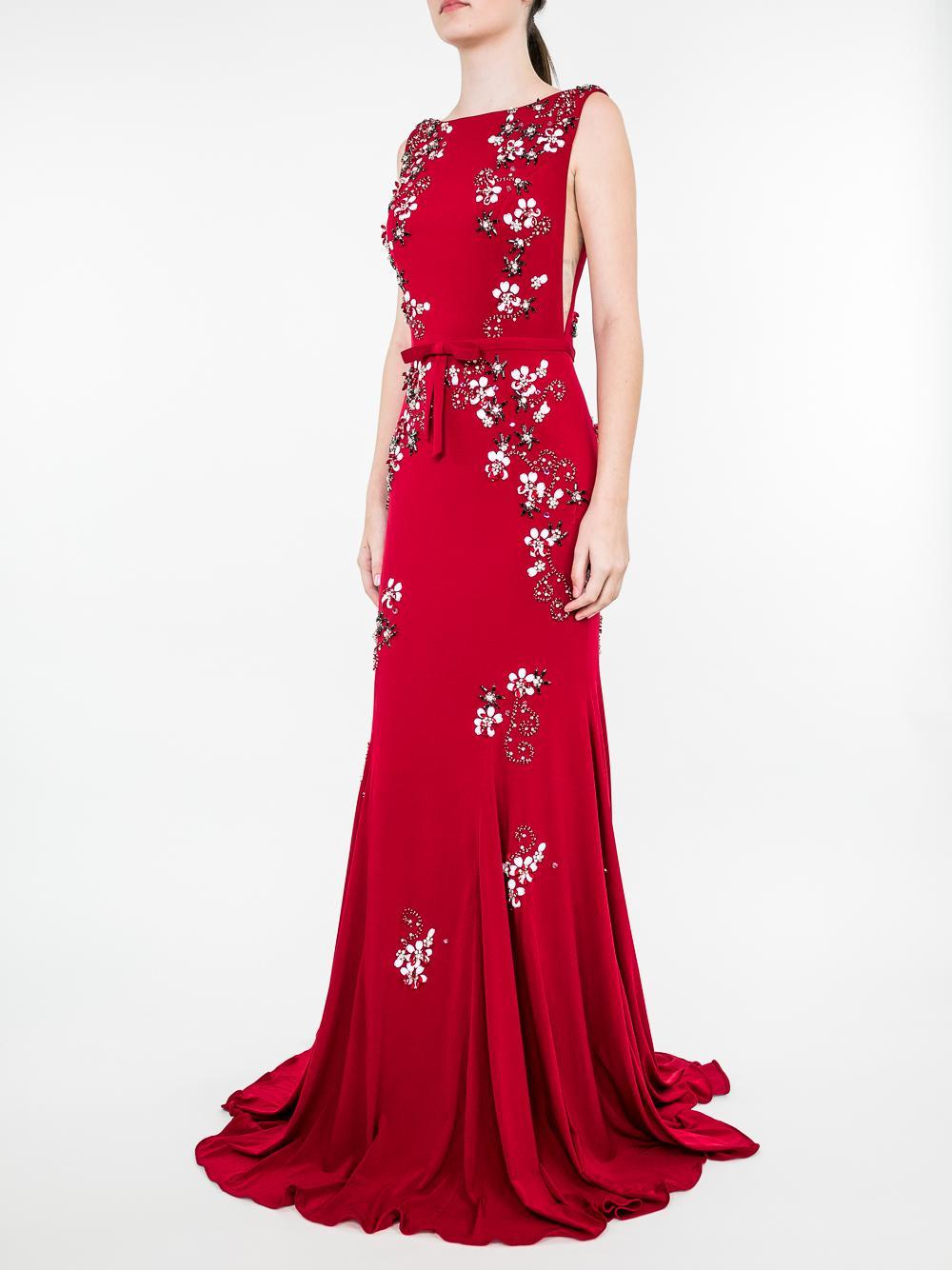 Floral Bd High Nick Sheer Side Gown Item # 42296