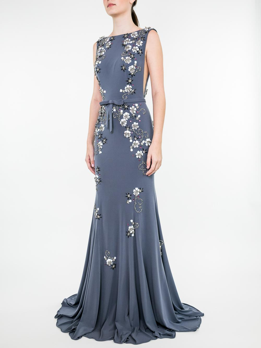 Floral BD High Nick Sheer Side Gown