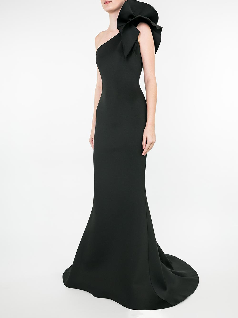 Ruffle Shoulder Neoprene Gown