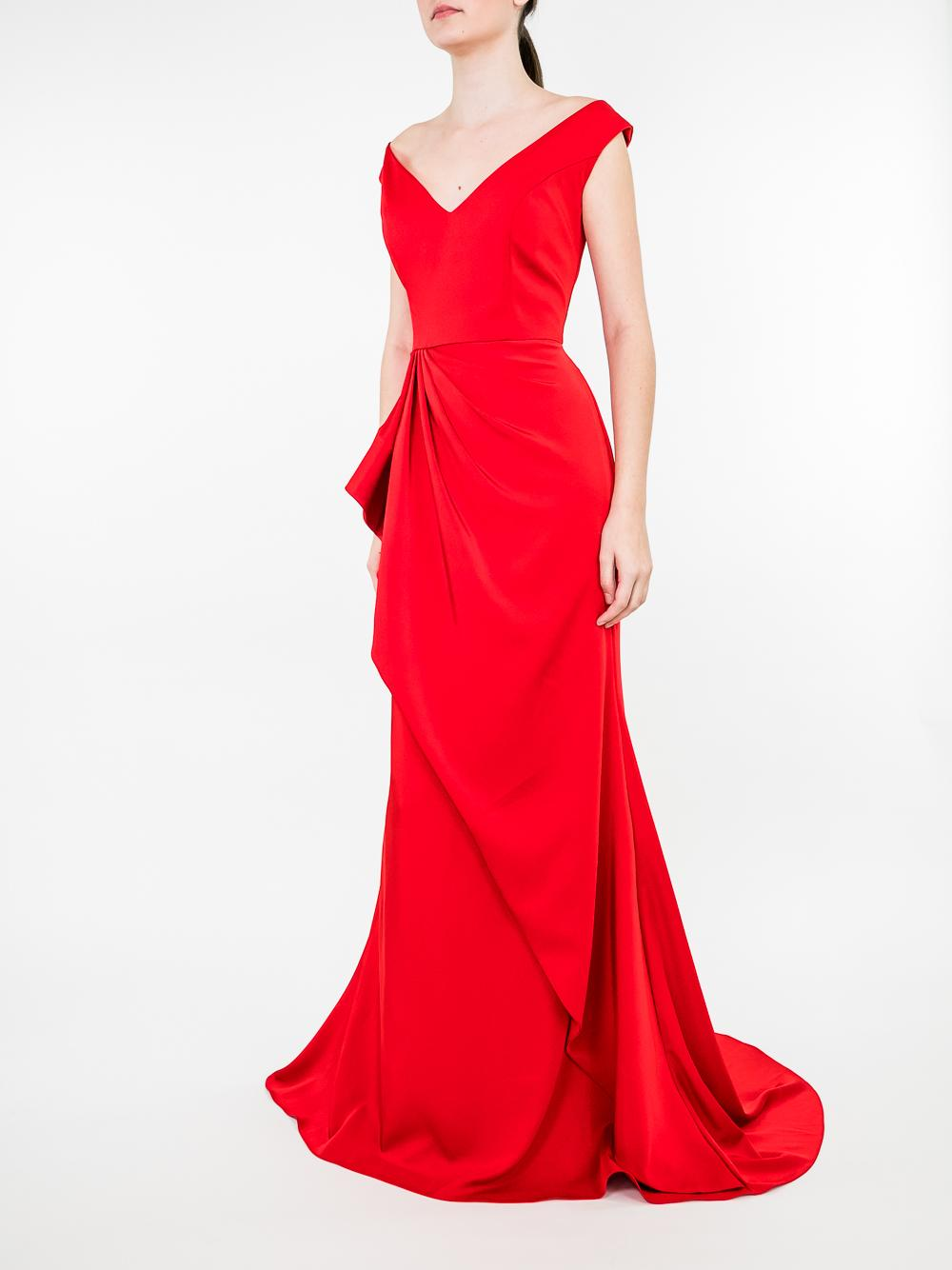 V Neck Rouched Front Gown