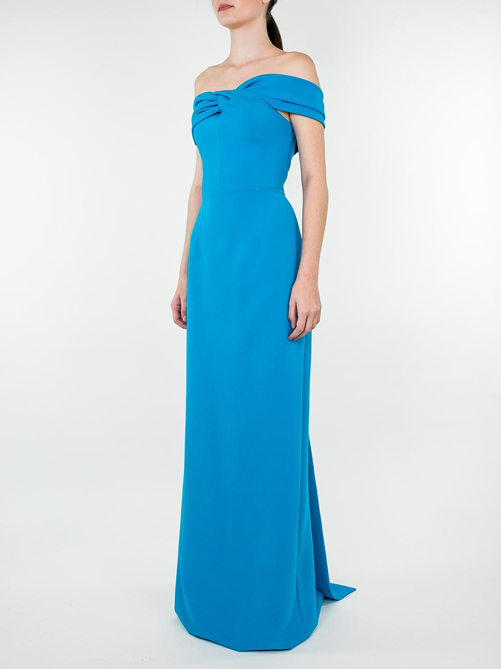 Fleur Off Shoulder Column Gown With Back Train