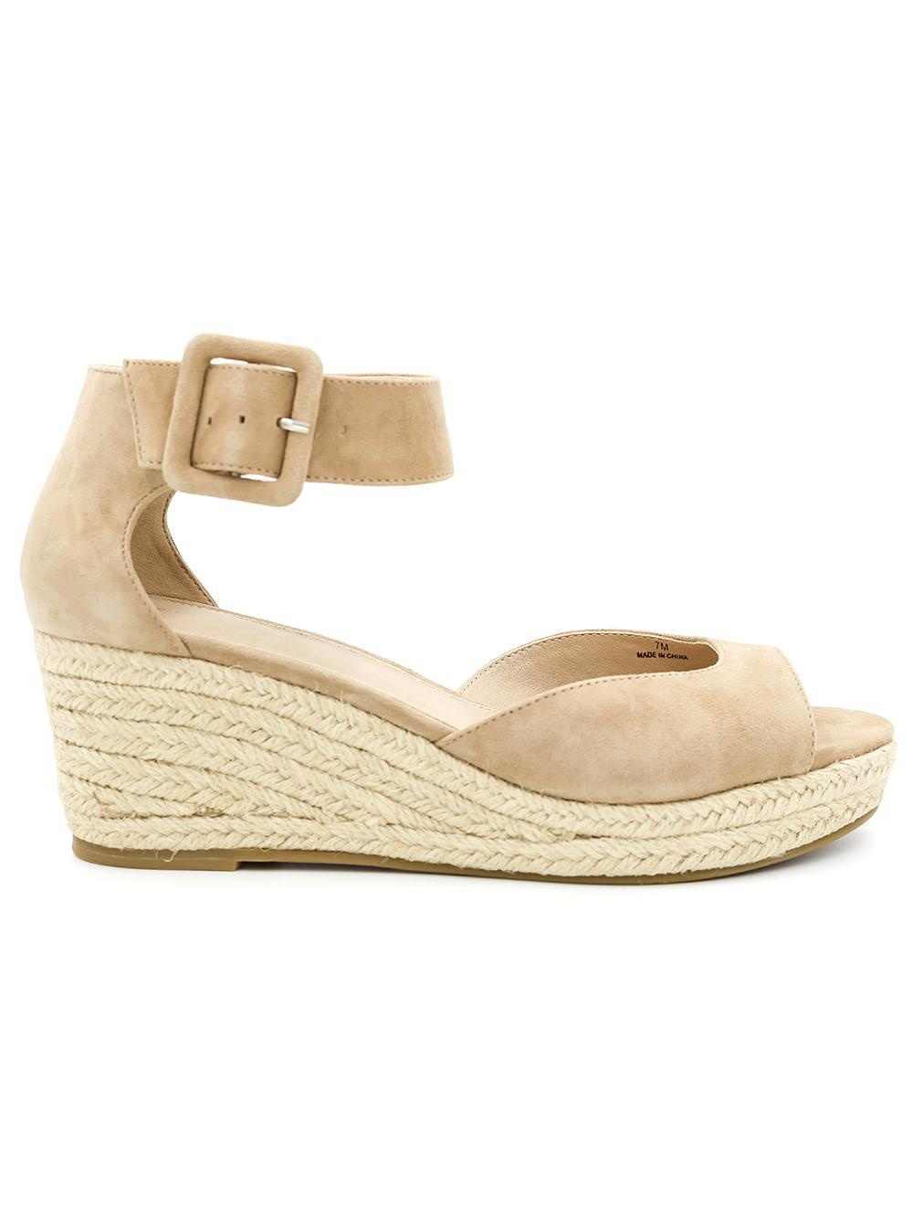 Wedge Espadrille Sandal With Buckle Ankle Strap
