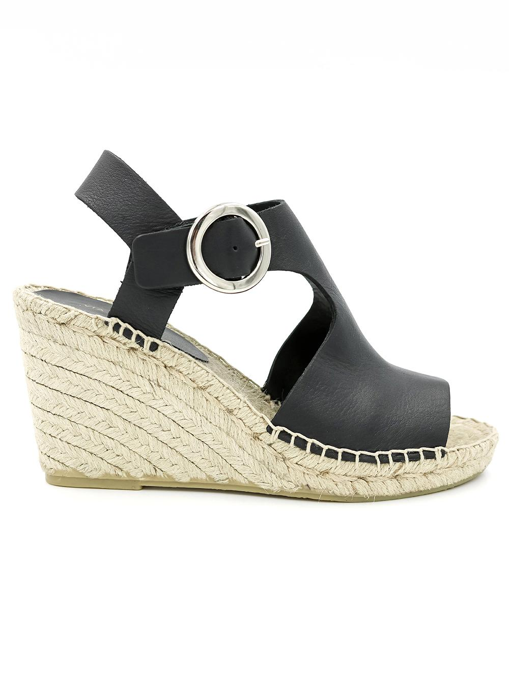 Leather Espadrille Wedge With Cutouts