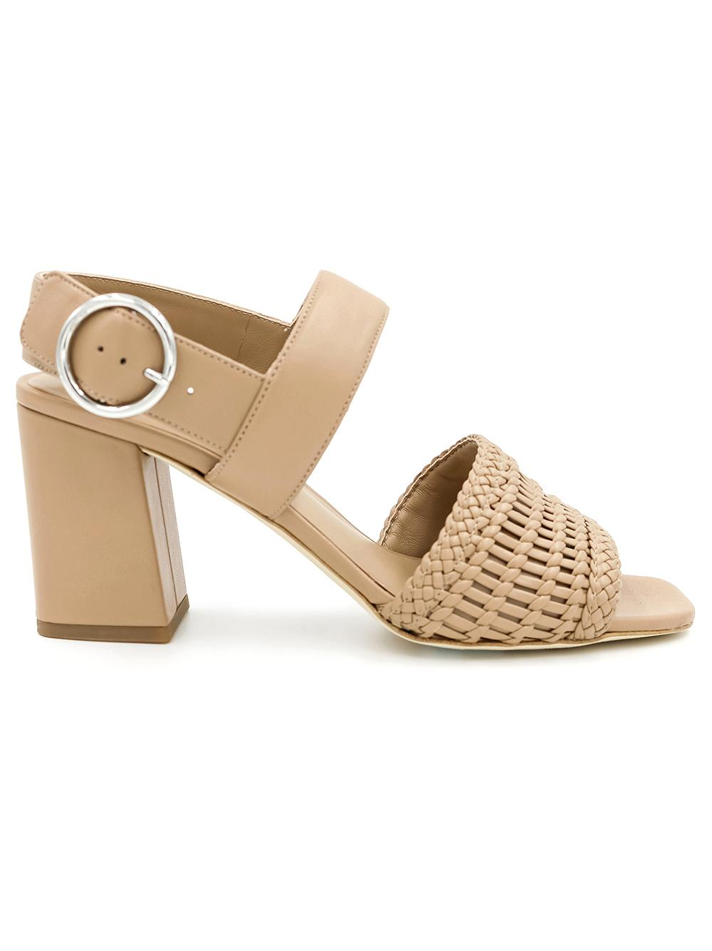 Woven Leather Block Heel Sandel With Slingback