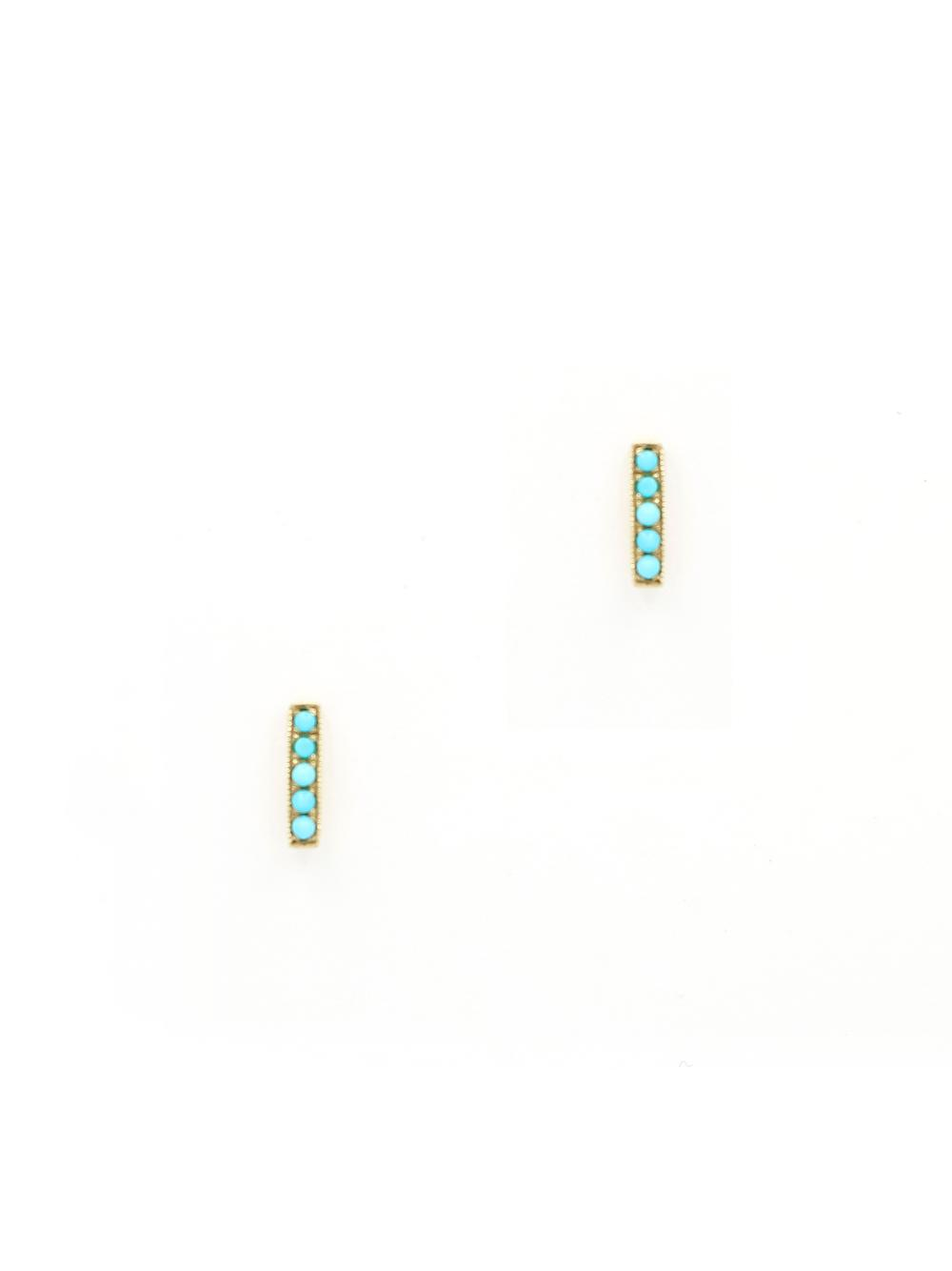 Petite Turquoise Bar Studs