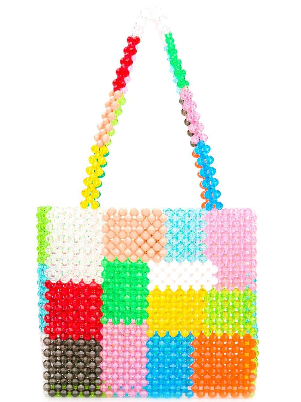 Ash Patchwork Beaded Tote Item # BAG-0018