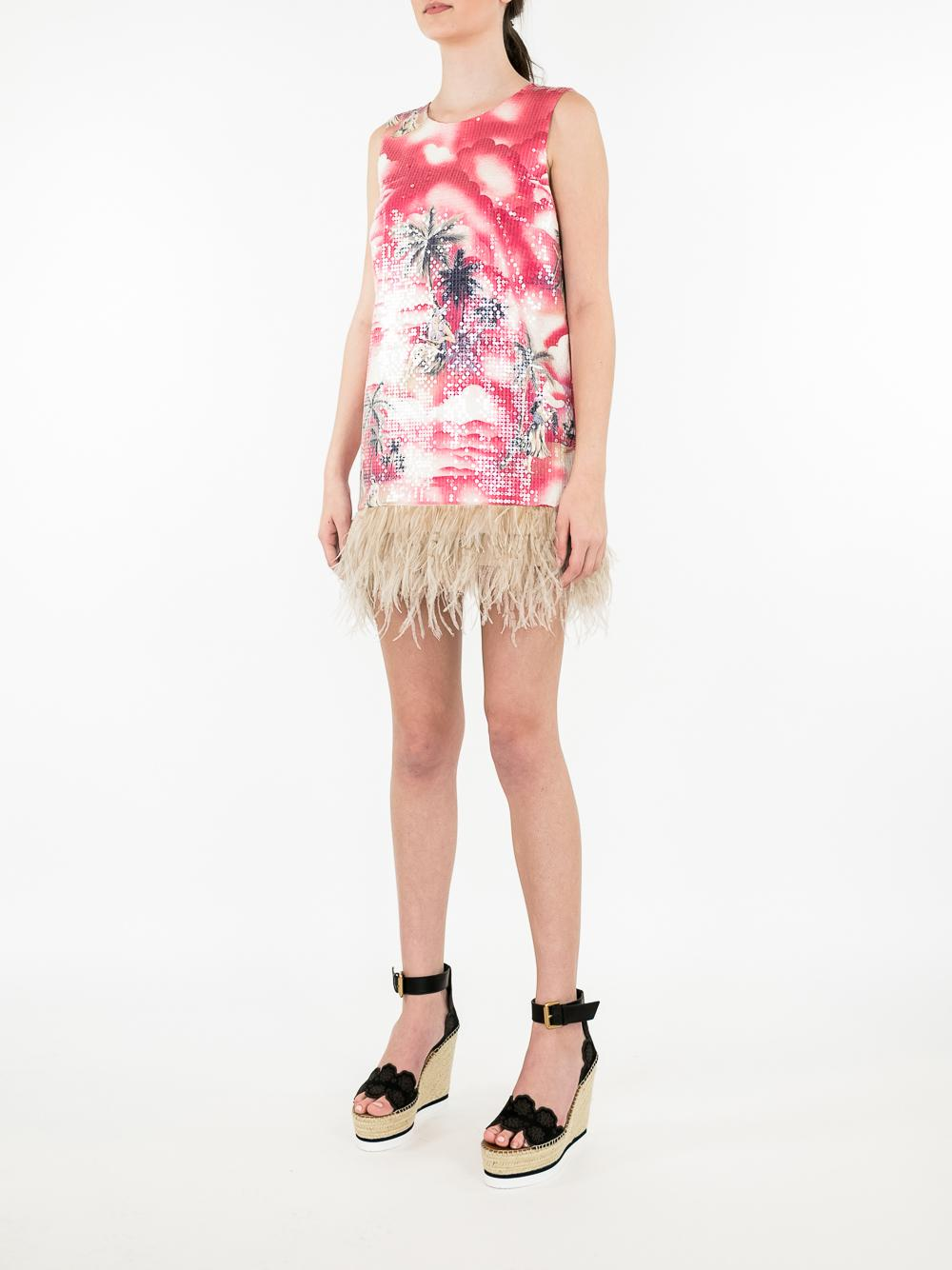 Hawaiian Shine Shift Dress With Feather Hem Item # LS18-141