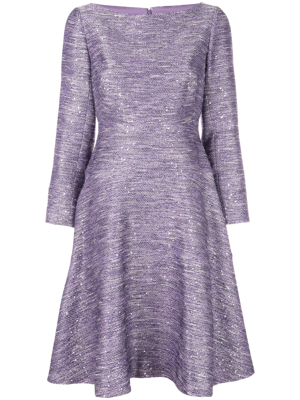 Long Sleeve Sequin Embellished Tweed Tiered Dress